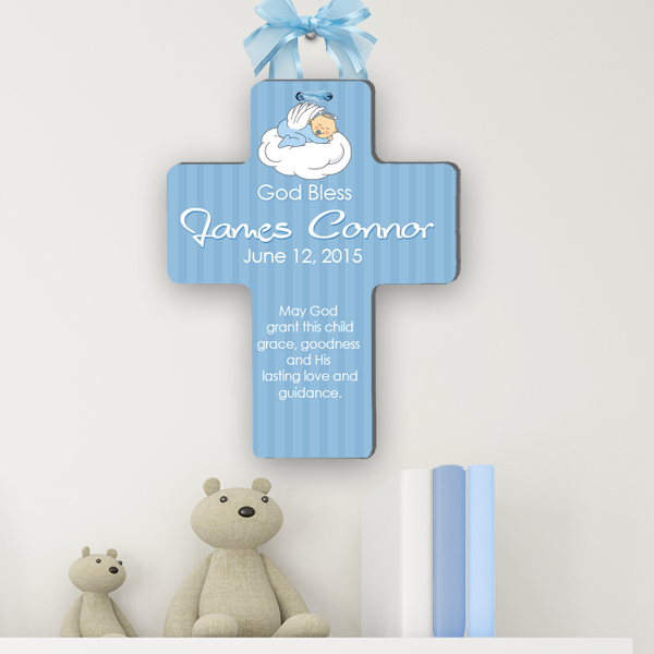 Personalized Christening Cross Bless This Child Baptism