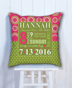 Babys first frameday you were born word art baby girl pif bwc00001 personalized baby birth date info nursery throw pillow by personalize it free negle Images