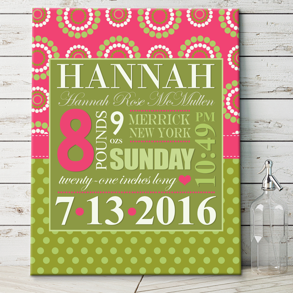 Green/Pink Girls Personalized Baby Wall Art Canvas with Baby Birth ...