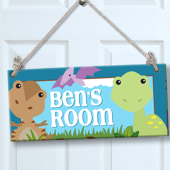 Personalized kids sign for wall door dinosaur theme room for Personalized kids room decor