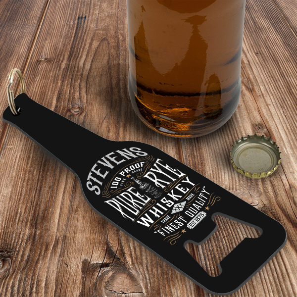 Custom Whiskey Label Personalized Bottle Opener/Keychain