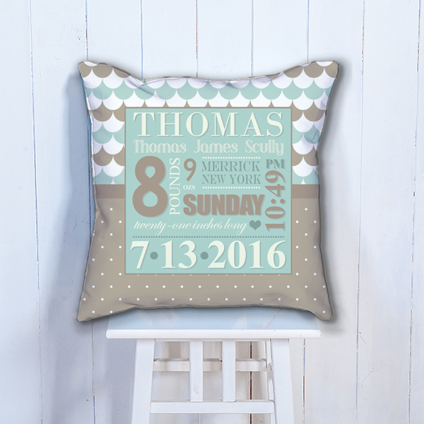 Pif Btp00003 Chocolate Blue Personalized Baby Birth Date Info Nursery Throw Pillow By Personalize