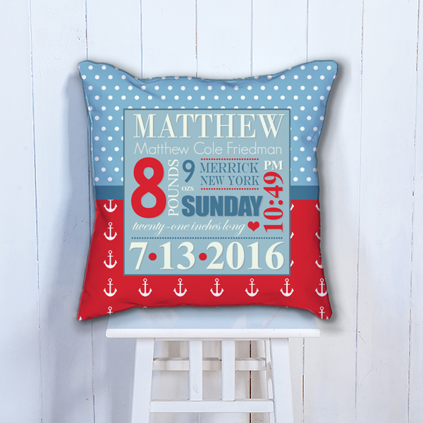Pif Btp00004 Nautical Anchors Personalized Baby Birth Date Info Nursery Throw Pillow By Personalize
