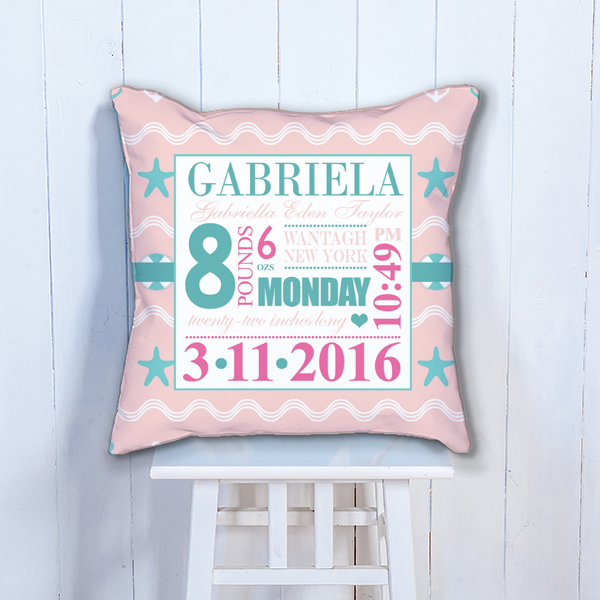 Pif Btp00007 Pink Nautical Personalized Baby Birth Date Info Nursery Throw Pillow By Personalize