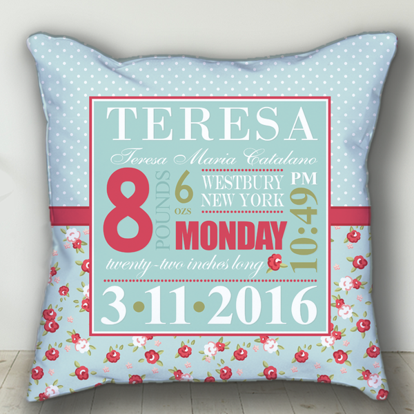 Shabby Chic Red Roses Baby S Day Personalized Nursery Throw Pillow