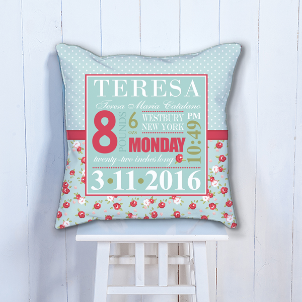 Pif Btp00011 Blue Red Shabby Chic Roses Personalized Baby Birth Date Info Nursery Throw