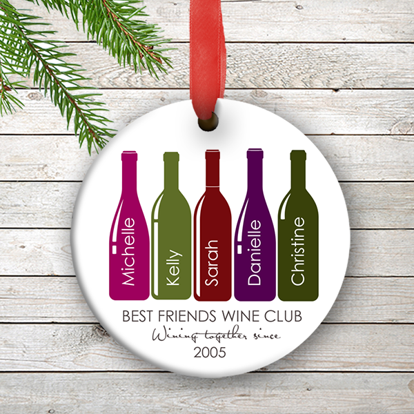 friends personalized ornament best friends wine club holiday christmas