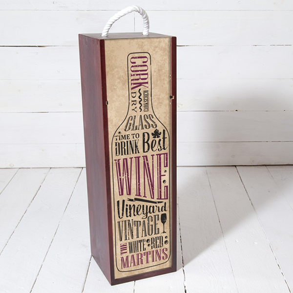 time to drink wine word art personalized wood wine gift box