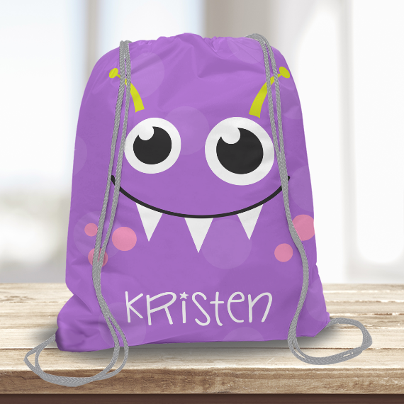07454bf2eb5f WW-KDT00004 Little Purple Monster Personalized Drawstring Bag Kids Sports  Travel Tote Bag by Personalize