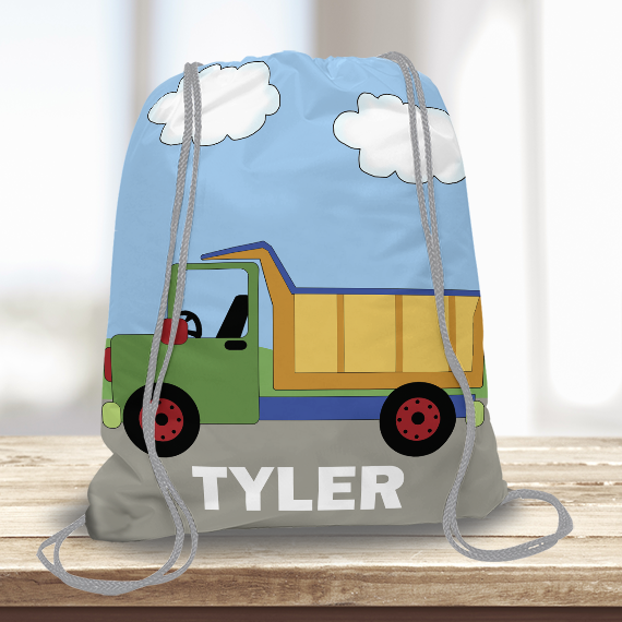 Construction Dump Truck Kids Personalized Drawstring Bag