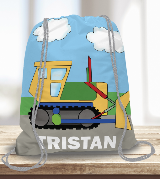 4d416fcf240ae9 WW-KDT00009 Construction Bulldozer Personalized Drawstring Bag Kids Sports  Travel Tote Bag by Personalize it