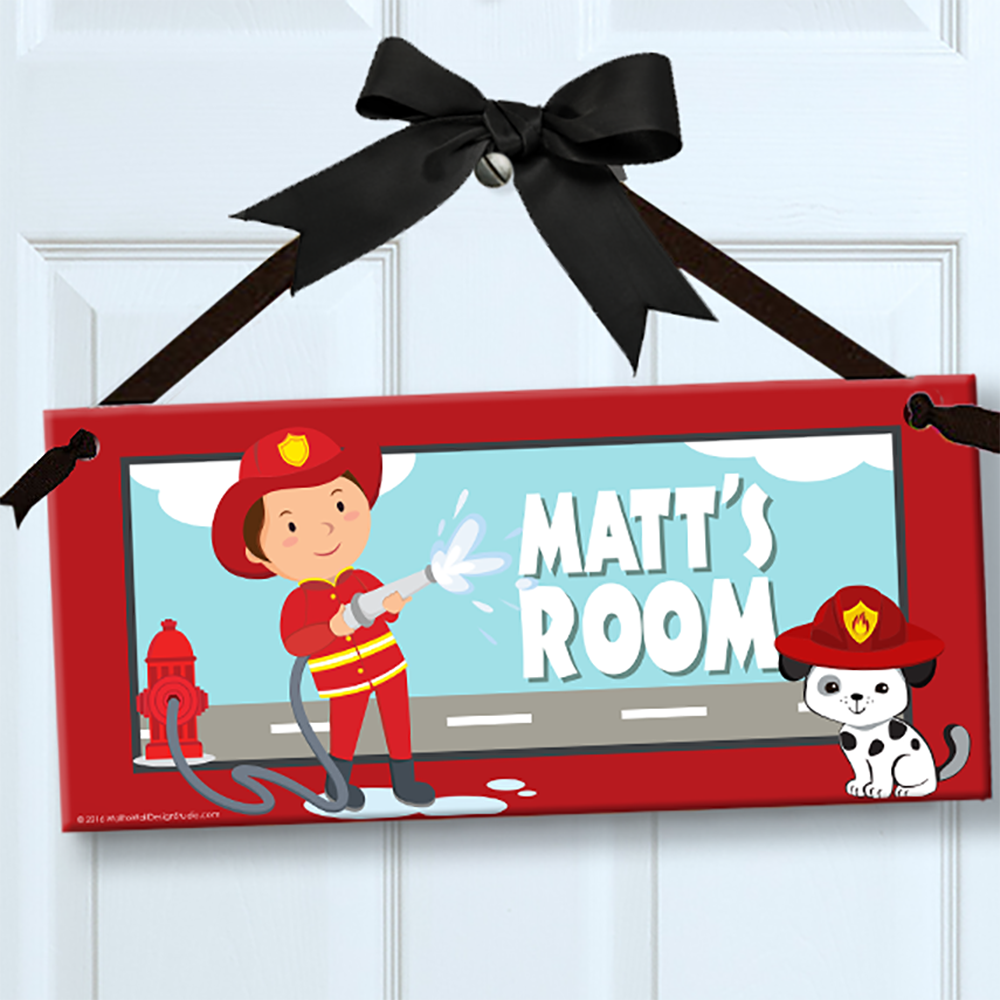 Personalized kids sign for wall door fireman theme room for Personalized kids room decor