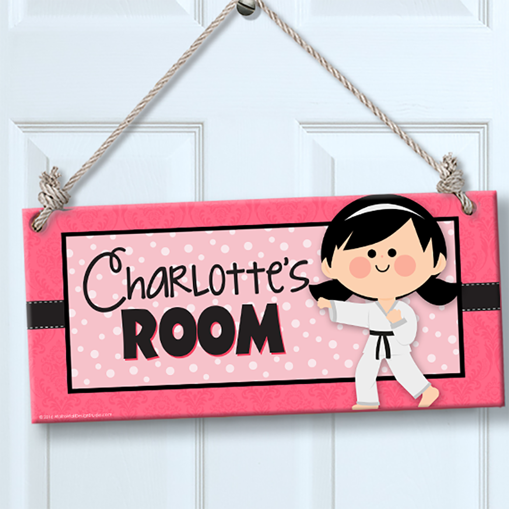 Personalized kids sign for wall door karate girl theme for Personalized kids room decor