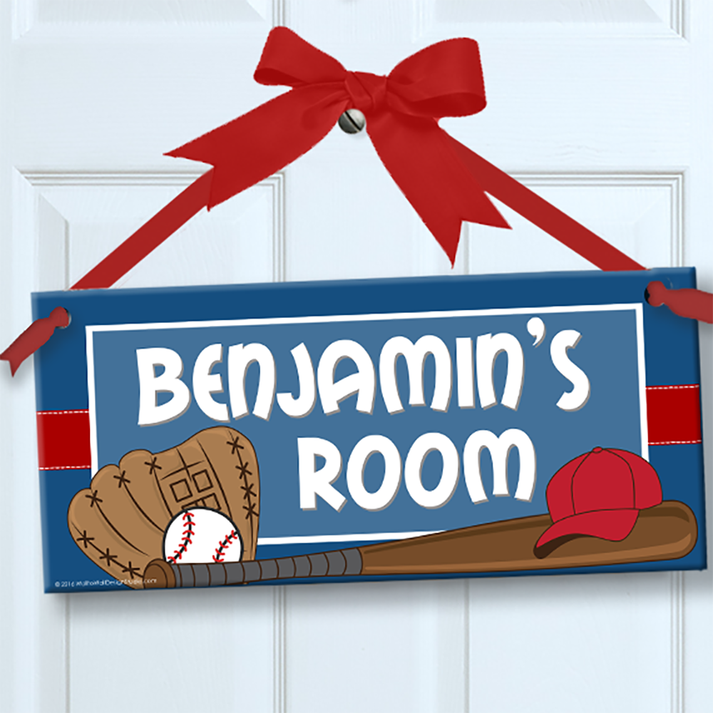 Personalized kids sign for wall door baseball star theme for Kids room signs