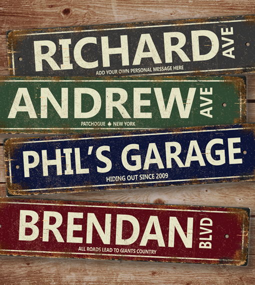 Personalized Street Signs >> Distressed Aluminum Personalized Street Sign For Man Cave Game Room