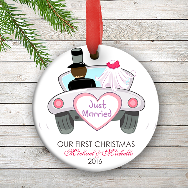 w2w ho00002 just married wedding couples 1st personalized our first christmas ornament porcelain holiday by - Our First Married Christmas Ornament