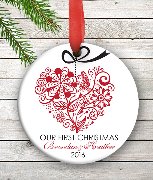 One Heart Personalized Our First Christmas Ornament Wedding Couples ...