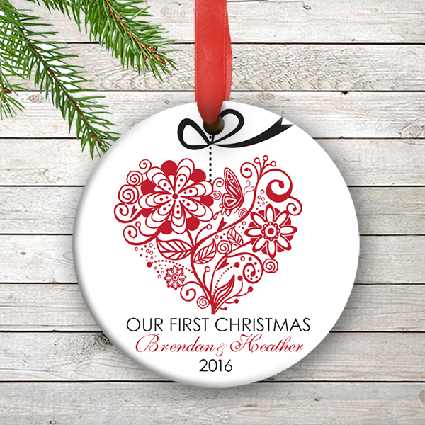 W2W-HO00005 RED ONE HEART LOVE WEDDING COUPLES 1st Personalized Our First Christmas Ornament Porcelain