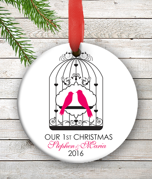 Love Birds Personalized Our First Christmas Ornament Wedding Couples ...