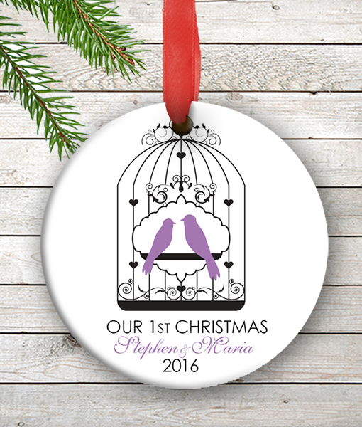 W2W-HO00007 PURPLE LOVE BIRDS WEDDING COUPLES 1st Personalized Our First Christmas Ornament Porcelain Holiday