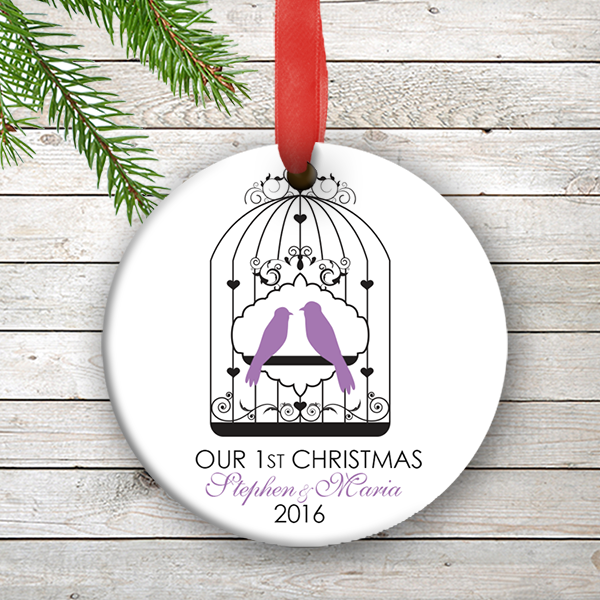 Love Birds Personalized Our First Christmas Ornament Wedding ...