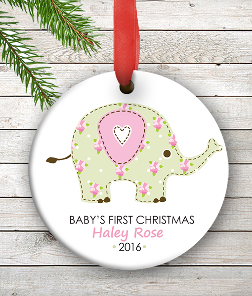 w2w ho00072 pink elephant babys first 1st christmas personalized porcelain holiday ornament by personalize it