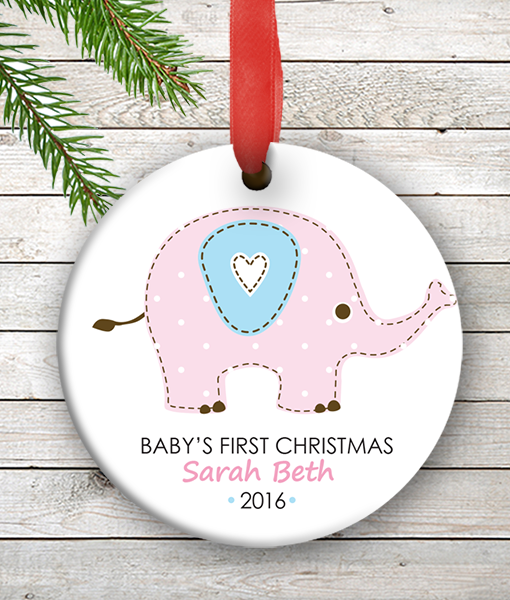 w2w ho00073 pink blue elephant babys first 1st christmas personalized porcelain holiday ornament by personalize