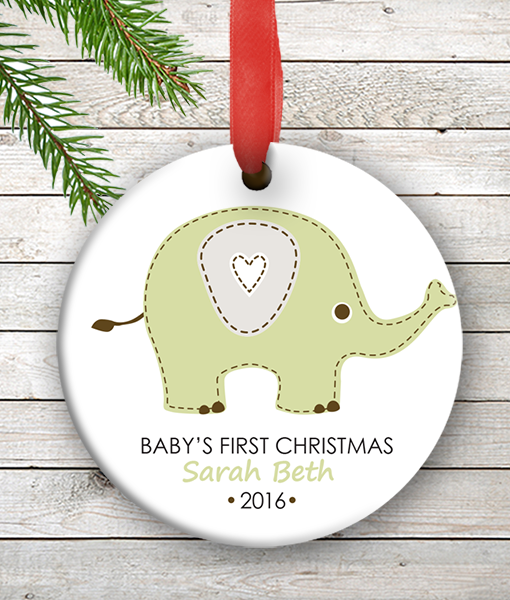 w2w ho00074 green elephant babys first 1st christmas personalized porcelain holiday ornament by personalize it