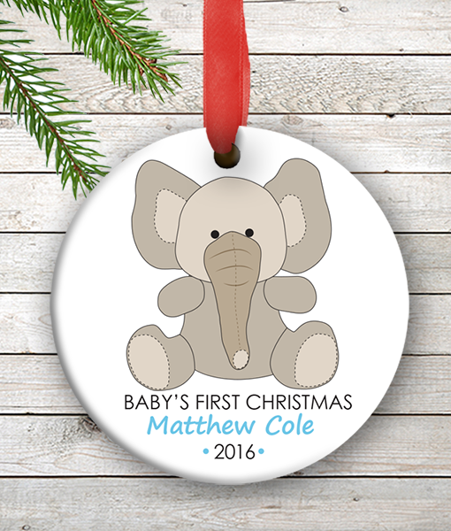 w2w ho00075 baby boy elephant babys first 1st christmas personalized porcelain holiday ornament by personalize - Baby Boy First Christmas Ornament