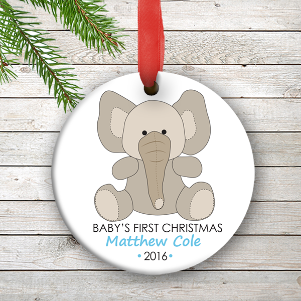 w2w ho00075 baby boy elephant babys first 1st christmas personalized porcelain holiday ornament by personalize