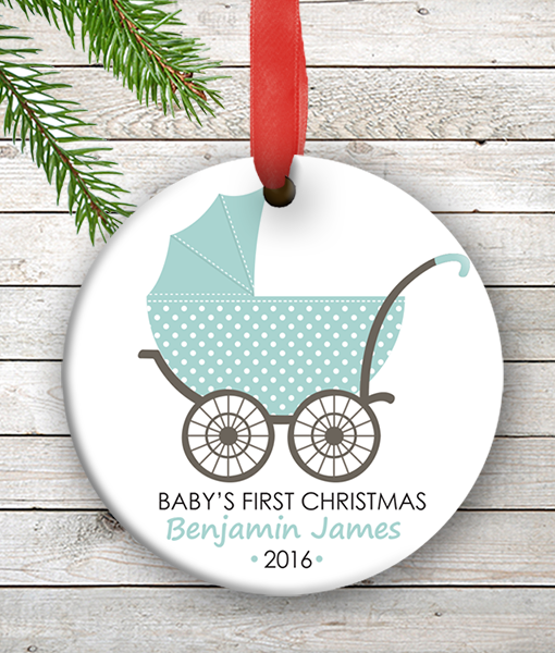 w2w ho00077 blue baby boy carriage babys first 1st christmas personalized porcelain holiday ornament by