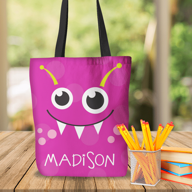 269718231293 KTOT-00011 Pink Kids Little Monsters Personalized Tote Bag Transportation  Theme for Sports