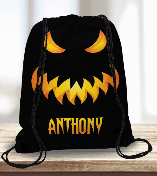 Halloween Trick Or Treat Bags Personalized.Spooky Monster Face Personalized Halloween Trick Or Treat Kids Drawstring Tote Bag