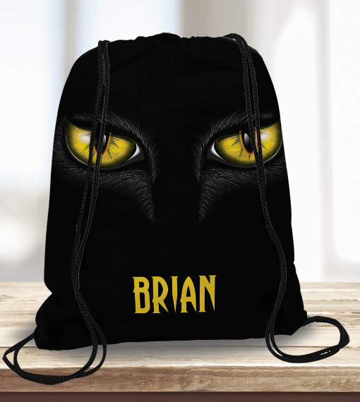 Ww Kdt00036 Black Cats Eye Personalized Trick Or Treat Kids Drawstring Tote Bag By