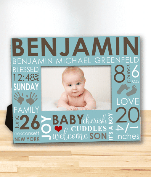 Baby's First Frame/Day You Were Born Word Art Baby Boy Personalized  Keepsake Picture Frame