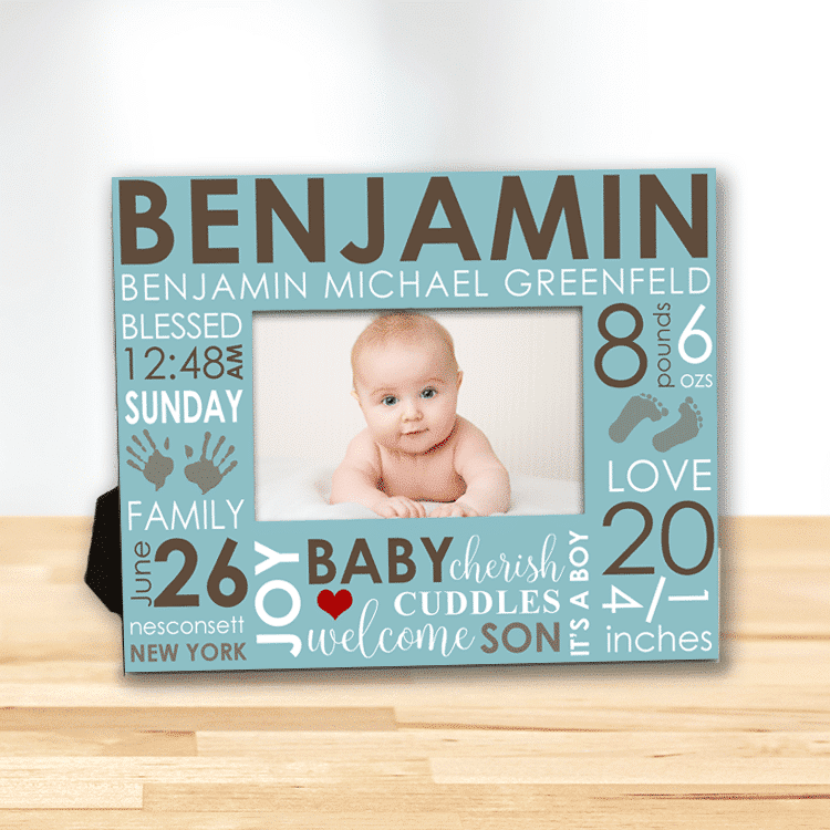 Baby\'s First Frame/Day You Were Born Word Art Baby Boy Personalized ...