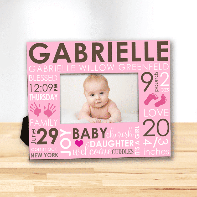 Baby\'s First Frame/Day You Were Born Word Art Baby Girl Personalized ...