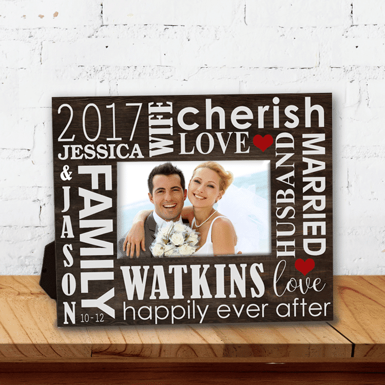 LOVE Wedding Day Memories Word Art Personalized Keepsake Picture Frame
