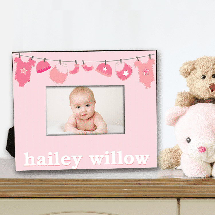 Welcome Baby Girl Pink Clothesline Personalized Keepsake Picture Frame