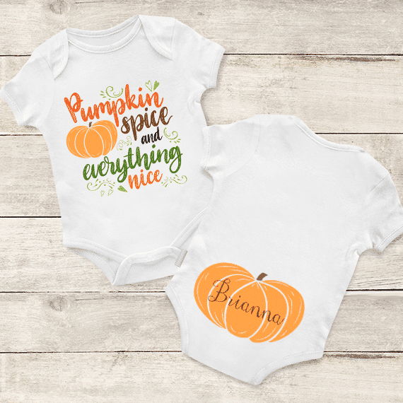 19939f79c PIF-BO00021 Pumpkin Spice and Everything Nice Personalized Thanksgiving  Holiday Baby Onesie Bodysuit Shirt by