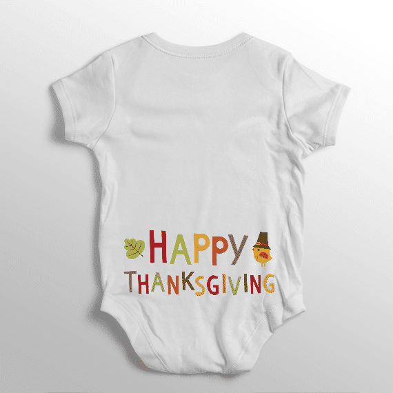 1f1a8a81f PIF-BO00022 Thanksgiving Name Text Art Personalized Thanksgiving Holiday  Baby Onesie Bodysuit Shirt by Personalize
