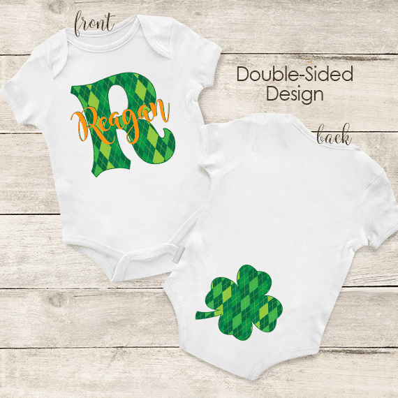 6d3a2136 PIF-BO00030 St. Paddys Day Irish Shamrock Argyle Print Personalized Baby  Onesie Bodysuit by