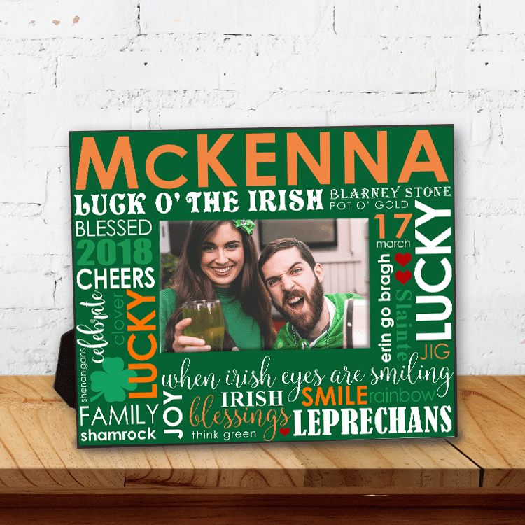 Personalized Luck O' the Irish Family Word Art Keepsake Picture Frame