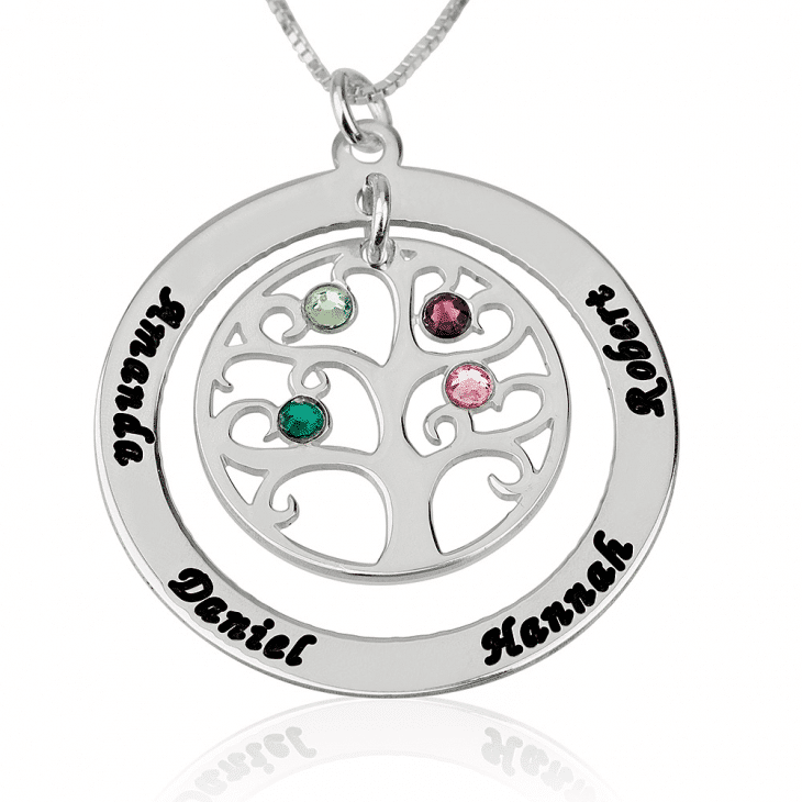 Sterling silver family tree birthstone personalized necklace custom pifon001565a sterling silver family tree personalized birthstone necklace mother grandmother gift by personalize it free aloadofball Gallery
