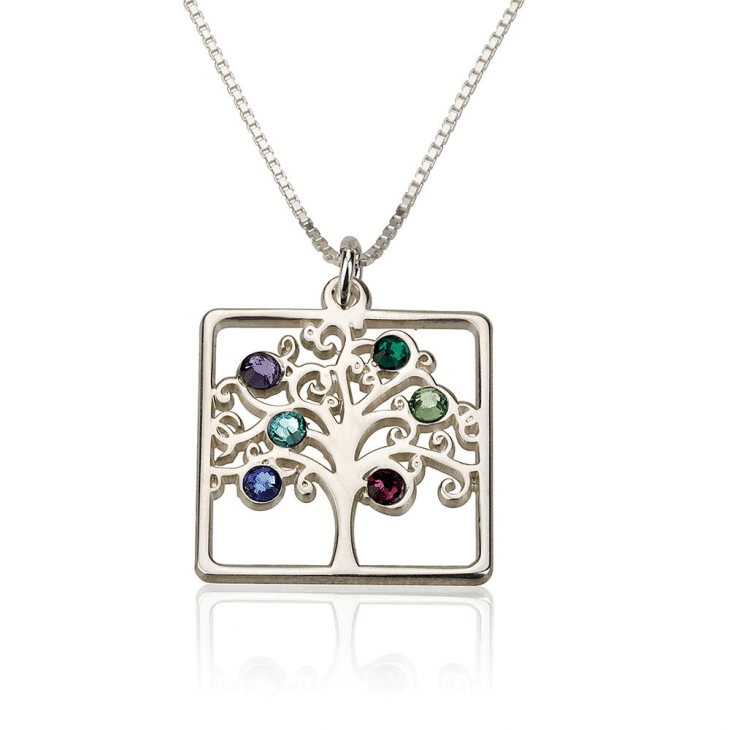 2cab964b1777 PIFON001720 Sterling Silver Moms Family Tree Personalized Birthstone  Necklace Mother Grandmother Gift by Personalize it FREE