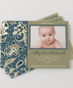 PIF-BBA00004-5X7 Elegant Gold/Denim Floral Baby Photo Birth Announcement by Personalize It FREE