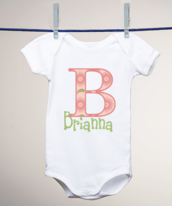 PIF-BO00001 Monogram Initial Personalized Baby Bodysuit Onesie by Personalize it FREE