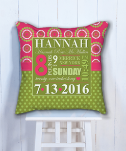 PIF-BWC00001 Personalized Baby Birth Date Info Nursery Throw Pillow by Personalize it FREE