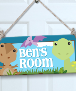 Dinosaur Kids Personalized Nursery Bedroom Wall Door Sign Decor by Personalize it FREE