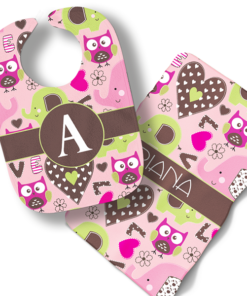 Hearts and Owls Girls Personalized Baby Bib Blanket Set by Personalize it FREE